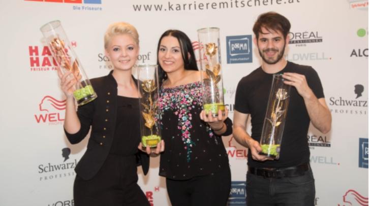Yvonne Mayer, Aldina Mukovic, Oliver Oettl. Mukovic (Mitte) arbeitet für Frisör Zöttl aus Villach und  heimste gleich zwei mal Gold ein!