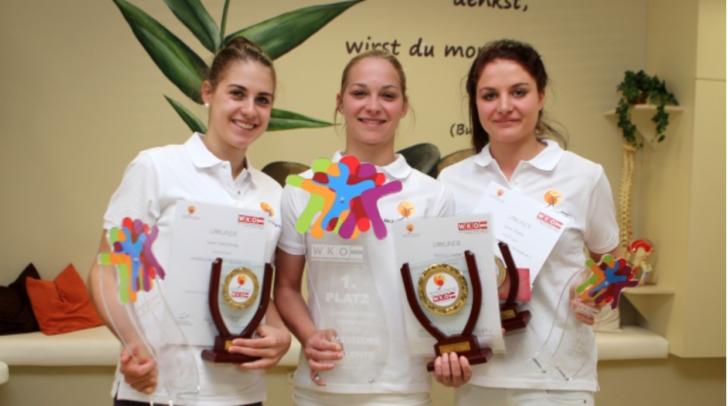 Für entspannende Massagen ist man bei Laura Glantschnig, Romana Triebel (Warmbad Villach) und Sarah Waldner (v.l.n.r.) in den besten Händen: Triebel gewann den Lehrlingswettbewerb in der Sparte