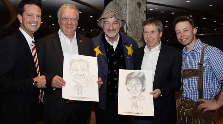 KTV-Vize Gernot Dreier, KTV-Präsident Hugo Fürstler, Manfred Tisal, Mag. Gerald Dreier (Jerry) und der Karikaturist Martin Gregoritsch