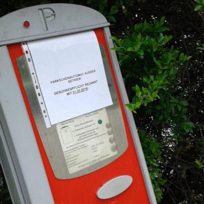 Parkautomaten außer Betrieb ...