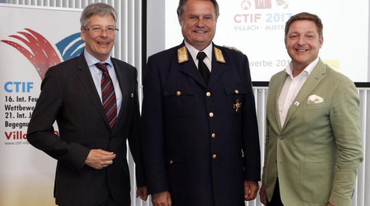 LH Peter Kaiser, LBD Josef Meschik und Bgm. Guenther Albel