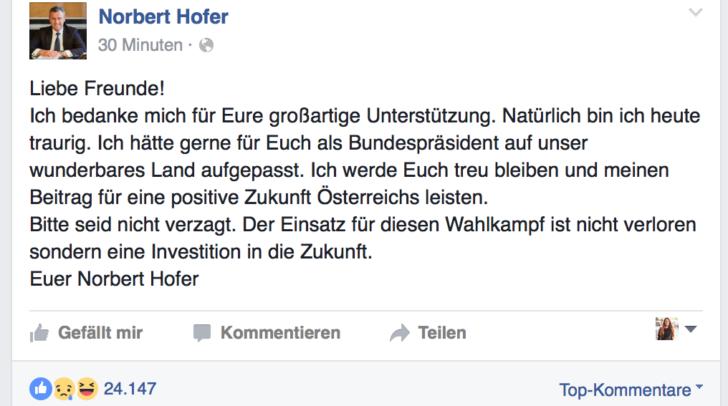 Norbert Hoferbedankt sich für die Unterstützung