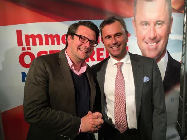 Nationalrat Wendelin Mölzer mit Bundespräsidentschaftskandidat Norbert Hofer