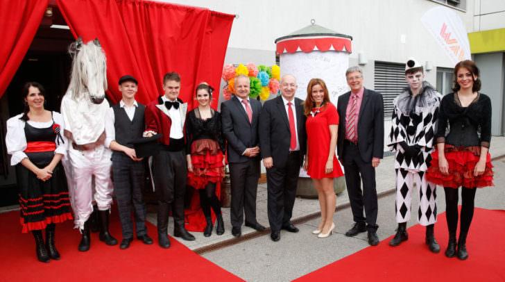 LH Peter Kaiser mit Franz Zewell, Elisabeth Niederer und Hans Ressmann bei der Feier zum 60. Jubiläum von Jugend am Werk
