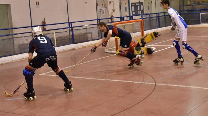 Markus Kleinbichler (vorne), David Huber Rollhockey RHC Villach