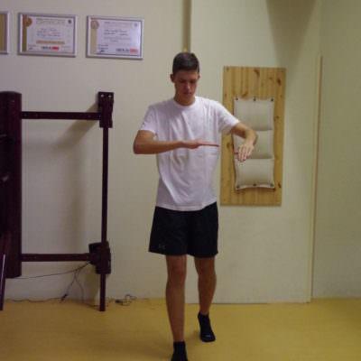 """Eine Art """"Schlittschuh-Bewegung"""" als Grundschritt des Kung Fu"""