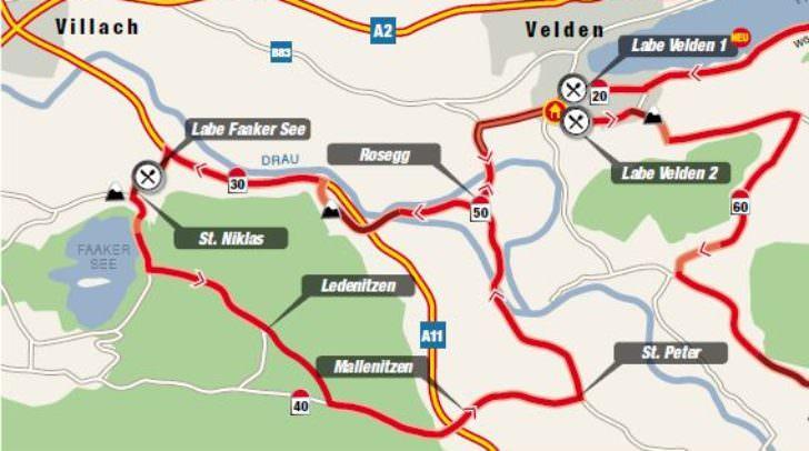 Die Radstrecke führt von Klagenfurt aus über die Wörthersee-Süduferstraße nach Velden