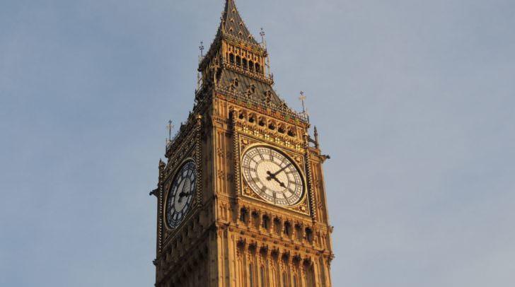 Der Name Big Ben bezeichnet die schwerste der fünf Glocken des berühmten Uhrturms am Palace of Westminster in London