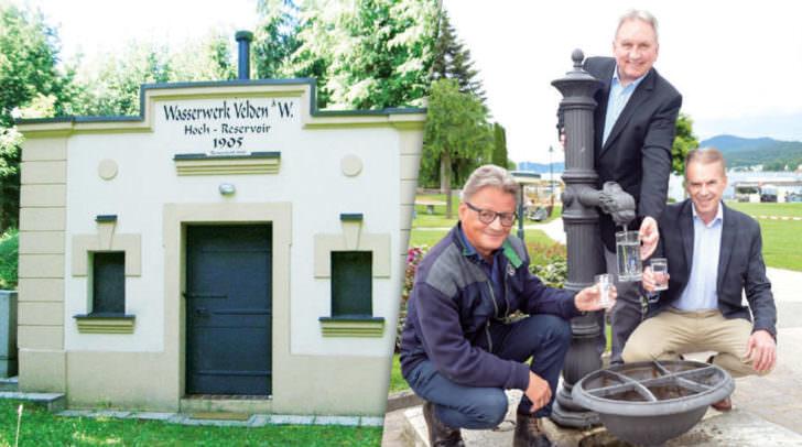 BGM Valentin Happe (Schiefling), Wasserreferent GV Dietmar Piskernik und BGM Ferdinand Vouk (Velden)