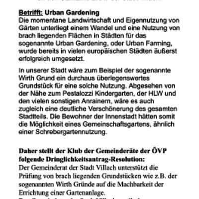 ÖVP, Antrag, Urban gardening