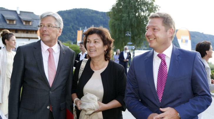 LH Peter Kaiser, Partnerin Ulrike Wehr und Bgm. Albel