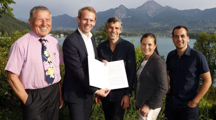 Stadtrat Dipl.-Ing. (FH) Andreas Sucher (zweiter von links) mit Johann Melcher, Michael Tschemernjak, Mag.a Ursula Melcher und Stefan Domenig.