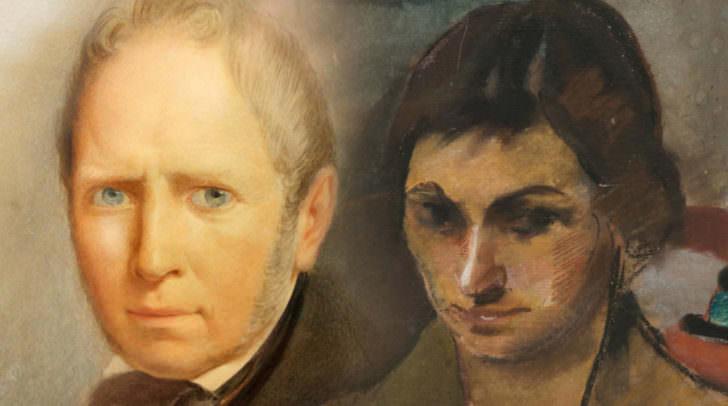 Montage aus einem Selbstportrait Giovanni Bellinas und einem Portrait Maria Bauernschmidts (von Arnold Clementschitsch)