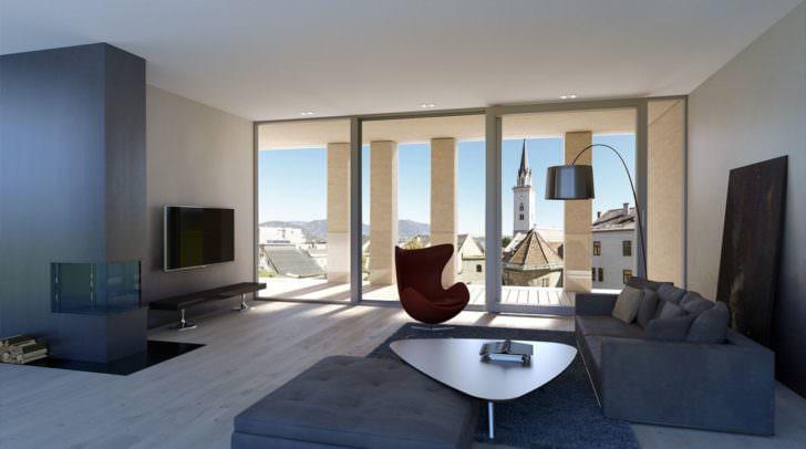 Die Location für die 5 Minuten Sommergepräche: Eine Penthouse Wohnung an Villachs bester neuer Adresse – dem HGP9 Gebäude. So könnte die fertige Penthouse-Wohnung dann ausschauen.