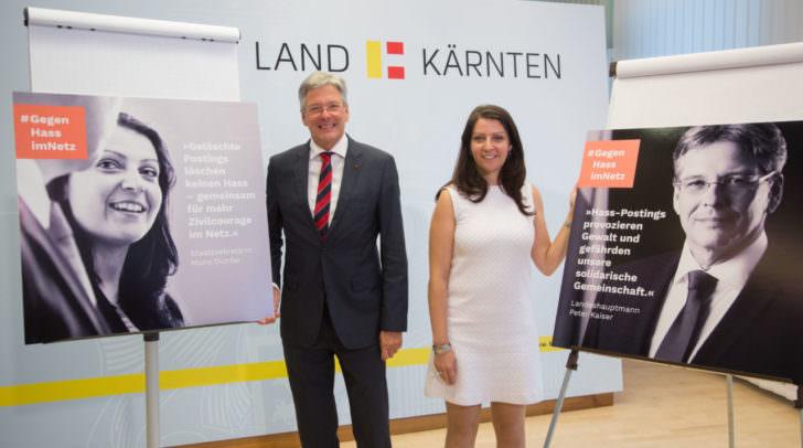 Bei der Präsentations Kampagne gegen Hass LH Peter Kaiser, und Staatssekretärin Muna Duzdar. Archivfoto