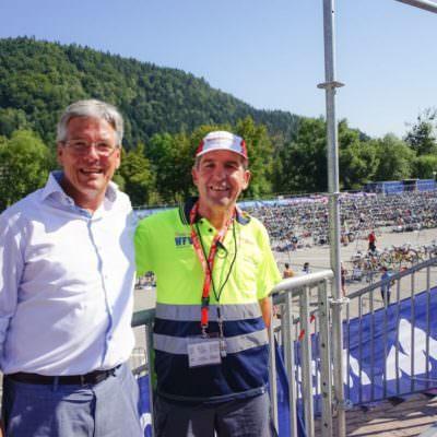 Panaceo Triathlon: LH Peter Kaiser mit Organisator Gerhard Domiuschigg