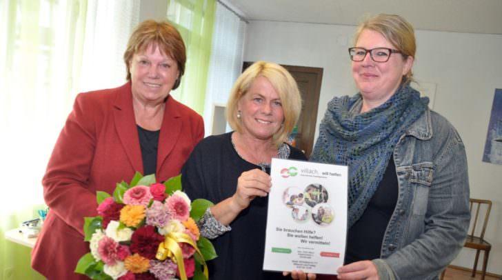 Gaben heute den Startschuss für die Freiwilligenbörse in Villach: Von links Liselotte Suette (SOMA-Markt), Sozialreferentin Vizebürgermeisterin Gerda Sandriesser und Astrid Meier-Hultsch.