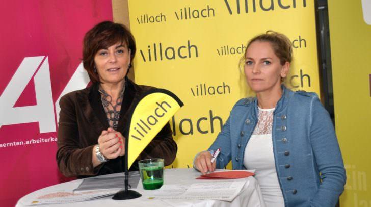Vizebürgermeisterin Petra Oberrauner (links) und die Bezirksstellenleiterin der VHS-Villach Katrin Binder informierten über das neue Programm der Montagsakademie.