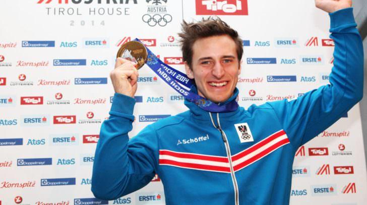 Matthias Mayer im Jahr 2017 nach einem Erfolg im Super-G. Auch beim heutigen Super-G in Lake Louise gewann der Kärntner.