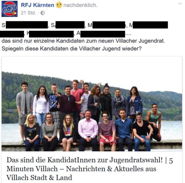 Posting des RFJ Kärnten am 16.03. um 13.30 Uhr