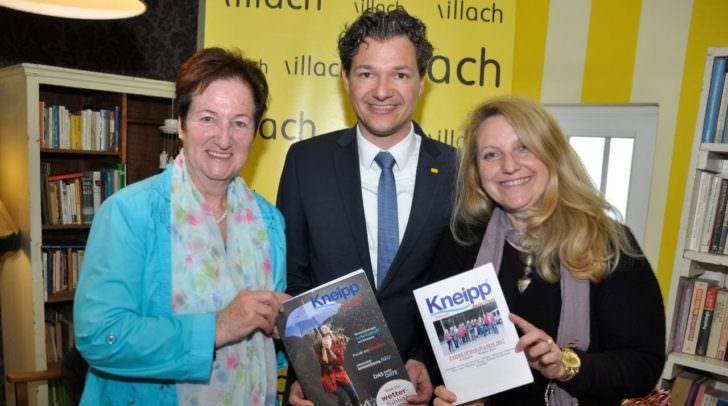 Stellten das Jahresprogramm des Kneipp-Aktiv-Clubs Villach vor: Von links Vorsitzende Elfriede Musch, Gesundheitsreferent Stadtrat Mag. Peter Weidinger und Schriftführerin Silvia Kavallar.