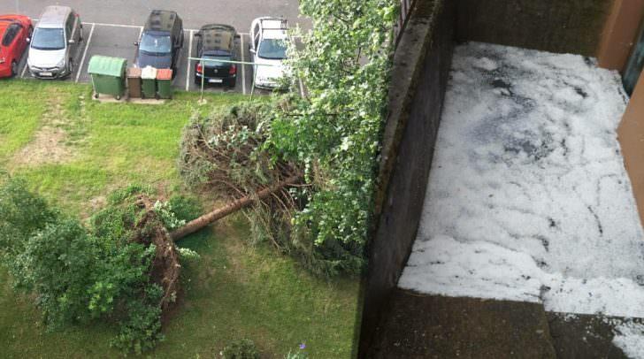 Ein entwurzelter Baum oder Kellerabgänge gefüllt mit Hagelkörnern: Das Unwetter in Villach forderte den Einsatz von etlichen Freiwilligen Helfern und Einsatzkräften.