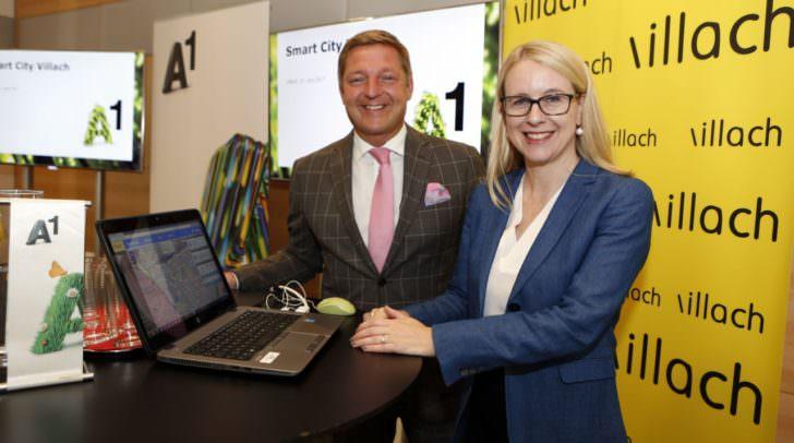 Bürgermeister Günther Albel und A1 CEO Margarete Schramböck