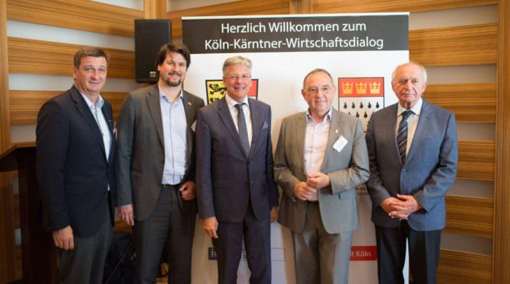 WKO Präsident Jürgen Mandl, IV Präsident Christoph Kulterer, LH Peter Kaiser, Norbert Walter-Borjans Finanzminister von NRW, Prof. Bernhard Felderer,