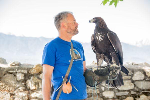 Schüttelkopf mit einem seiner Adler