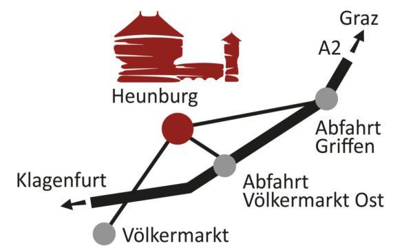 Anfahrt: A2 bis Völkermarkt Ost, dann 2km in Richtung Diex.