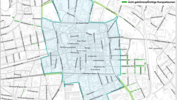 Die grün markierten Parkstraßen sollen in der Gemeinderatssitzung am 3. Oktober beschlossen und verordnet werden. Grafik: Abt. Vermessung & Geoinformation