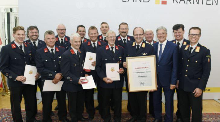 Rudolf Robin, Peter Kaiser mit Vertreter der Feuerwehr Tölpitsch
