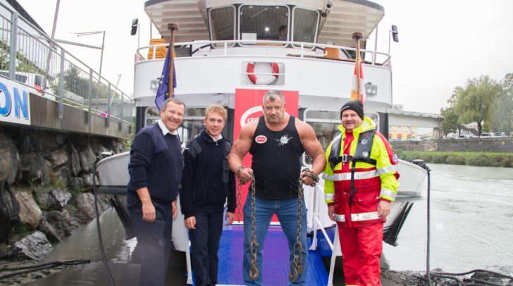 Schifffahrtschef Josef Nageler, ein Besatzungsmitglied, Martin Hoi und für die Wasserrettung Wolfram Krenn