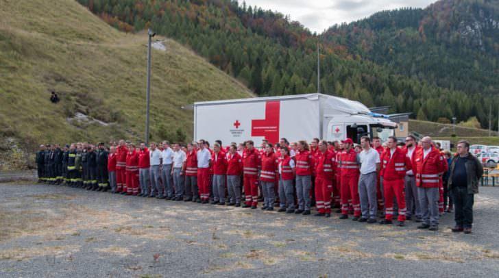 Insgesamt nahmen rund 150 Rot Kreuz Mitarbeiter aus Villach, Spittal an der Drau, Feldkirchen und Hermagor an der Übung in Bad Bleiberg teil.