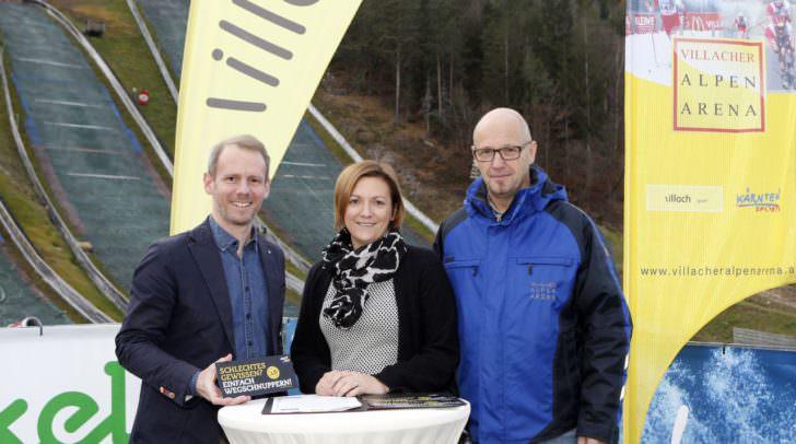 Starke Partner für Villach: Alpen Arena-Obmann Andreas Sucher, Karina Winkler (Thermenresort Warmbad) und Alpen Arena-Geschäftsführer Franz Smoliner.