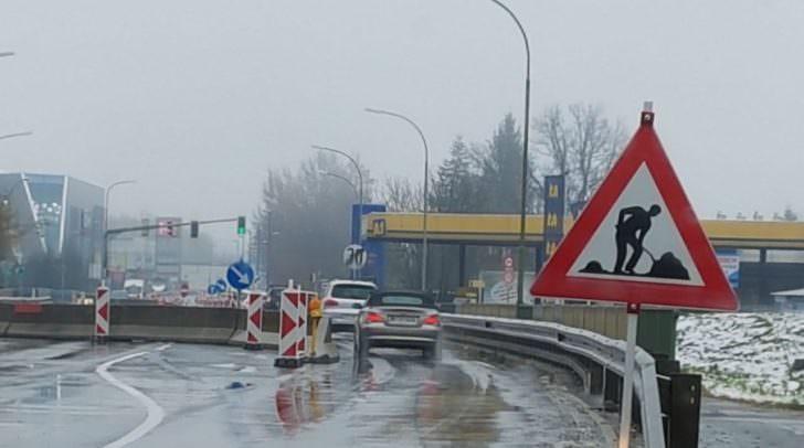 Enge Durchfahrt auf der Seebachbrücke