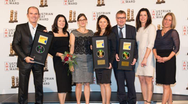 v.l.n.r: Klaus Moser (Vertriebsleiter Moser Wurst), Irmtraud Moser (GF Moser Wurst), Mag. Brigitte Drabek (GF PRODUKT), Dr. Bettina Rabitsch (Marketing Rudolf Frierss & Söhne Fleisch-und Wurst-spezialitäten), Christian Kendler (Vertrieb Metzgerei Josef Huber), Sonja Zauner (GF PRODUKT), Mag. Quirina Sabitzer (GF PRODUKT)