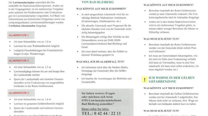Der Lawinenalarmplan für Bad Bleiberg