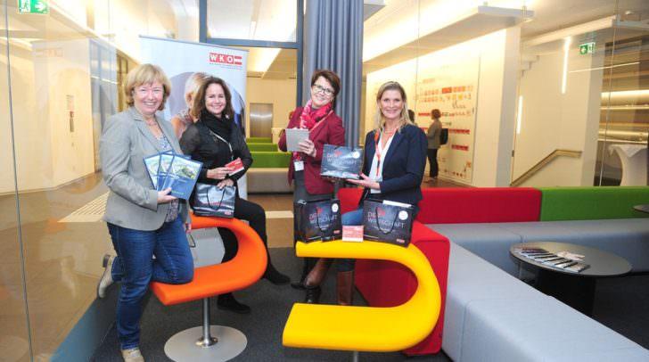 v.l.n.r.: Maria Mack (Park Management), Emma C. Matejka-Preininger (FiW Delegierte), Birgit Brommer (FiW Bezirksvorsitzende) und Rosemarie Brommer (FiW Bezirksgeschäftsführerin)