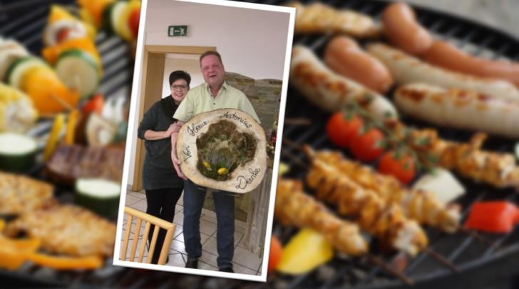 Eine Herbstdeko als Dankeschön für Michael Heber und Gabriele Kapeller