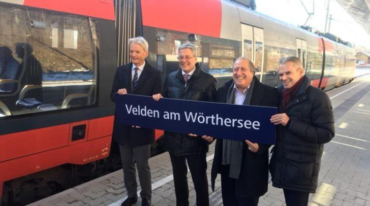 Sichtlich erfreut eröffnen die Hauptverantwortlichen (v.li) LA Manfred Ebner,  LH Peter Kaiser, LR Rolf Holub und Bgm. Ferdinand Vouk,den neuen Veldener Bahnhof.