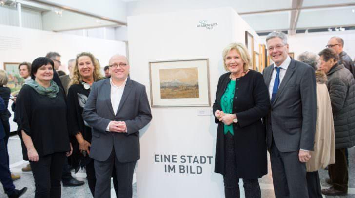 Beatrix Obernosterer, Manuela Tertschnig, Alexander Gerdanovits, Bürgermeisterin Maria-Luise Mathiaschitz und LH Peter Kaiser bei der Ausstellungseröffnung Klagenfurt 500