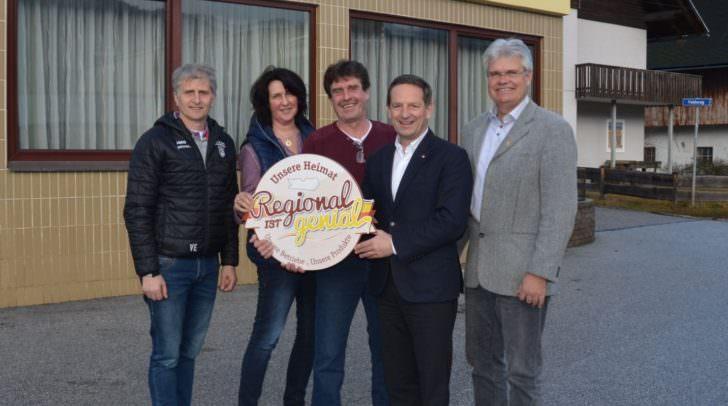 1.Vzbgm. Valentin Egger (LD), Frau Loibnegger, Wolfgang Loibnegger, LR Christian Benger, Bgm. Stefan Deutschmann