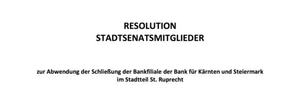 Die Resolution wird morgen eingebracht