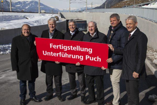 LR Rolf Holub, Manfred Ebner, LH Peter Kaiser, Bürgermeister Hermann Moser, LR Gerhard Köfer und ÖBB Franz Bauer