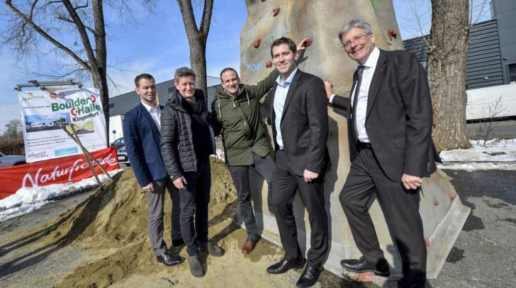 v.l.: Markus Wutscher, Mag. Arno Arthofer, Michael Raunig, Mag. Philipp Liesnig und LH Peter Kaiser
