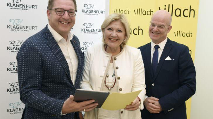 Bürgermeisterin Dr. Maria‐Luise Mathiaschitz, Bürgermeister Günther Albel und Peter Plaikner treiben das Thema Breitband im Zentralraum voran