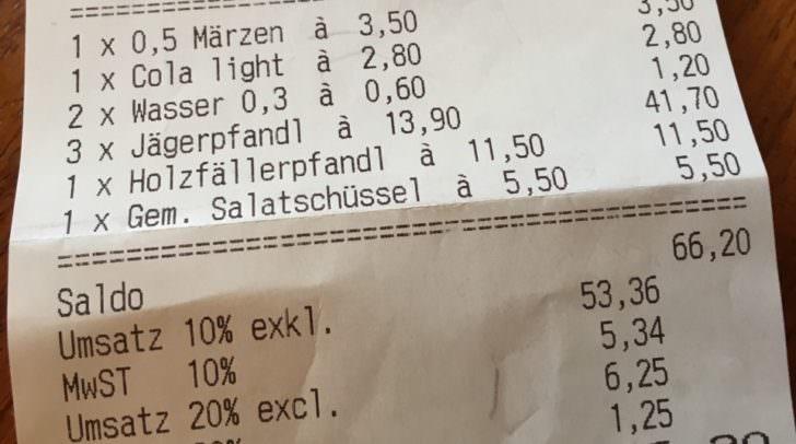Stein des Anstoßes: Ein Glas Leitungswasser für 60 Cent – trotz 65 Euro Rechnung.