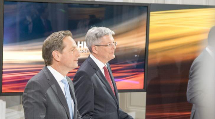 Hier noch am Wahltag: Landeshauptmann Peter Kaiser (SPÖ) neben Christian Benger (ÖVP)