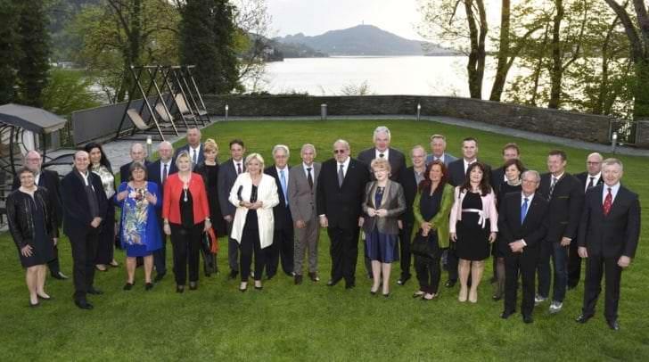 Die Partnerstädte-Delegationen wurden von Bürgermeisterin Dr. Maria- Luise Mathiaschitz und den beiden Vizebürgermeistern Jürgen Pfeiler undChristian Scheider im Schloss Loretto empfangen.